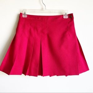 QMack Red Pleated Short Skirt